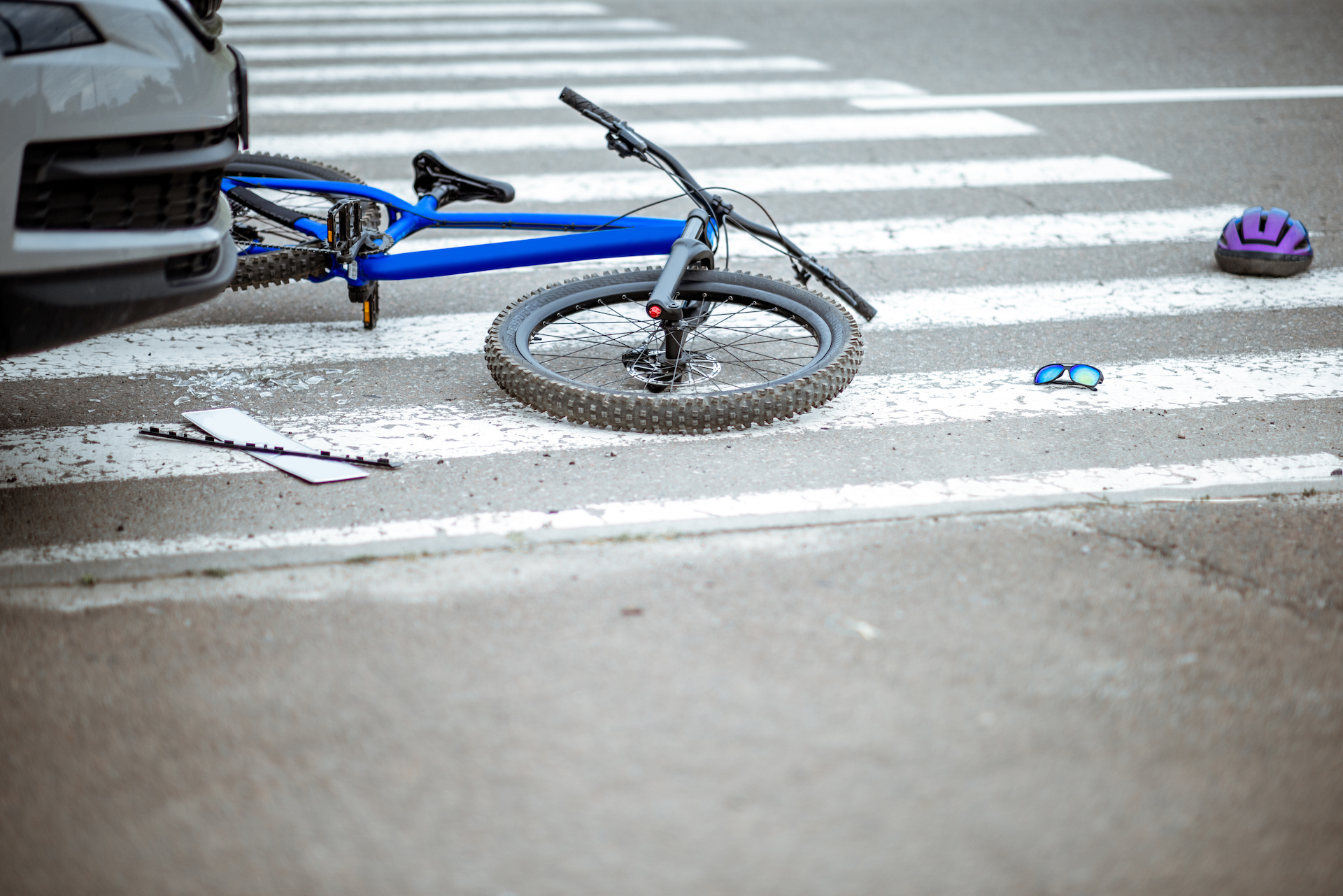 road accident with car and broken bike - Personal Injury Attorney in Nashville - Wrongful Death Attorney, Truck Accident Lawyer, Car Accident Lawyer, and more | Meyers Injury Law